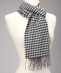 Black & White Houndstooth Cashmere Scarf Made in Scotland by NYWAREHOUSE. $29.99 Pashmina Scarf, Cashmere Scarf, Scarf Styles, Houndstooth, Fashion Accessories, Fashion Scarves, Black And White, Scotland, How To Make