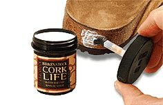 Cork Life. Apply this non-toxic latex to seal and protect the cork footbed. The handy brush-in-lid applicator minimizes cleanup. #birkenstock #birkenstockexpress.com $5