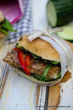 Peppered Mackerel and basil pesto sandwich - based on Balik Ekmek from Istanbul Pesto Sandwich, Sandwich Recipes, Lunch Recipes, My Recipes, Seafood Dishes, Seafood Recipes, Road Trip Food, Sandwich Ingredients, Whats For Lunch