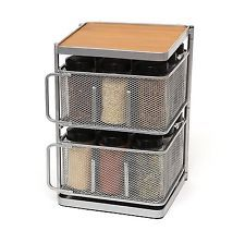 Lipper International 2-Tier Metal and Bamboo 18-Bottle Square Spice Tower,