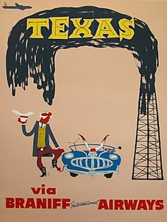 Texas via Braniff Airlines