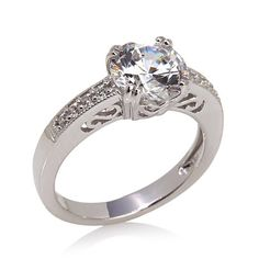 Xavier 2.12ct Absolute™ Round and Pavé Solitaire Ring