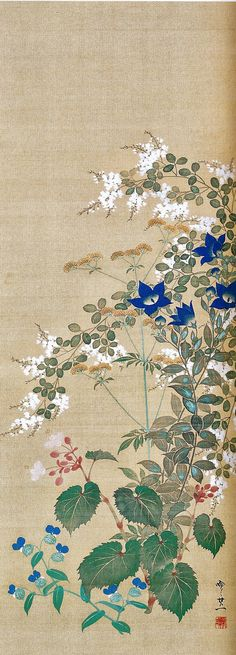 Flowers. 鈴木其一 Suzuki Kiitsu. Japanese hanging scroll. Nineteenth century. Rinpa style.