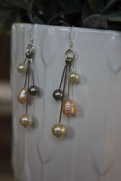 Cluster Earrings Pearl Earrings by HHRusticJewels on Etsy
