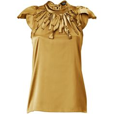 STEFFEN SCHRAUT Winter Gold Montauk Silk Top ($178) ❤ liked on Polyvore