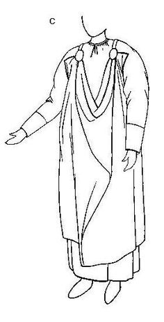 """Reconstruction by Peter Beatson of Viking hanging dress (here called """"sarafan"""") based on Pskov find"""