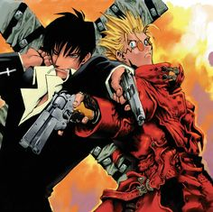 Nicholas D Wolfwood and Vash The Stampede. The preacher and the gunslinger