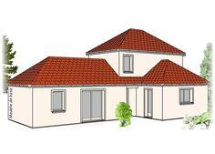 Modèle PC-47  Pavillon comprenant cuisine, séjour, hall, salle de bains, WC et 2 chambres au rez-de-chaussée. 1 chambre avec sa salle de bains et mezzanine à l'étage.  Surface Habitable : 101,25m²