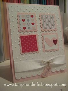 Cute layout - it could be valentine's, you could make it baby or birthday or whatever. I like the scalloped square with the square.