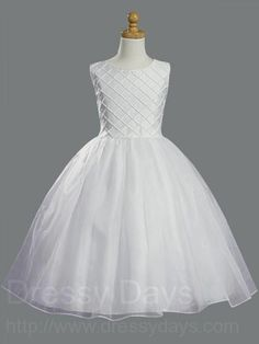 First+Communion+Dress+with+Shantung+&+Organza+Pearl+Accents+:+LCD1000