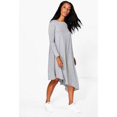 Boohoo Emily Drape Asymmetric Dress ($12) ❤ liked on Polyvore featuring dresses, white bodycon dresses, bodycon mini dress, bodycon party dresses, bodycon midi dress and white skater dress