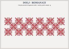Semne Cusute: romanian traditional motifs - OLTENIA, Dolj & Roma... Beading Patterns, Knitting Patterns, Embroidery Applique, Embroidery Ideas, Couture, Hama Beads, Blackwork, Pixel Art, Crochet