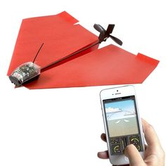 This is the world's first remote controlled paper airplane conversion kit, called PowerUp 3.0. Bluetooth technology allows you to control the airplane right from your phone while viewing information like battery level and current distance/range. The kit comes with special crash-resistant design, template paper for folding the airplane, a micro USB cable for charging, and a →