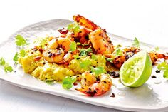 Prawns with Corn Mash. Coconut milk gives a nutty and creamy taste to the sweet corn mash. Coconut Recipes, Raw Food Recipes, Cooking Recipes, Prawn Recipes, Seafood Recipes, Coconut Prawns, Cocktails And Canapes, Prawn Dishes, Grilled Prawns
