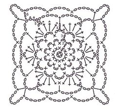Схема квадратного мотива крючком 15