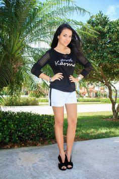 black and white outfit. tuxedo shorts, Moda heels, Good Karma t shirt, graphic t shirt