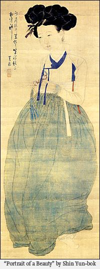 Portrait of a Beauty by Shin Yun-bok. Painting on silk. The woman wears a samjak norigae or triple jewel trinket with maedeup in her hands.