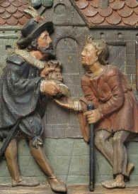 Renæssancens underklasse bestod bl.a. af betlere og løsgængere. Uden et fast udkomme måtte man hutle sig igennem som man bedst kunne. (Detalje af pengetavle til indsamling, ca. 1625.)