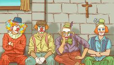Illustration for Short Story 'Clown Relief and Aid Providers' by Cait Maloney