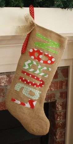 Aunt Joyce had burlap looking fabric. Burlap Christmas Stocking Personalized by thecolorfulchicken Forrest Forrest Forrest Forrest Zisman Christmas Time Is Here, Noel Christmas, Merry Little Christmas, Christmas Projects, Winter Christmas, All Things Christmas, Holiday Crafts, Holiday Fun, Christmas Colors