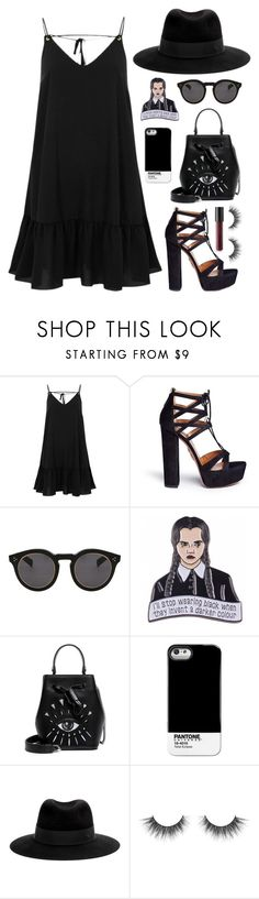 """I'll stop wearing black when they invent a darker color"" by reine-chanel on Polyvore featuring River Island, Aquazzura, Illesteva, Kenzo, Pantone Universe, Maison Michel and Bare Escentuals"