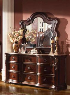 McFerran Home Furnishings - Imperial Dresser and Mirror Set in Dark Brown - King Size Bedroom Furniture, Bed Furniture, Cheap Furniture, Discount Furniture, Furniture Design, Bedroom Decor, Cheap Living Room Sets, Top Furniture Stores, Dining Room Buffet