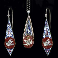 Victorian Micro Mosaic Earrings Pendant Dove Jewelry Set Antique (4597)