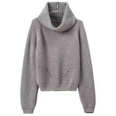 52b8f75cd17b8 Yoins Yoins Grey High Roll Neck Chunky Knit Sweater (185 HRK) ❤ liked on