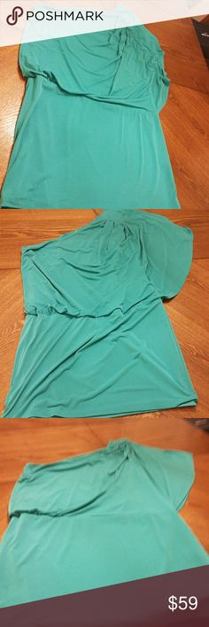 Jessica Simpson One Shoulder Cocktail Dress Worn once and laundered once. Jessica Simpson One Shoulder Party Dress! It is a blue green color. This dress is super flattering. Though it is used, I can't seem to locate any flaws.  This dress is a looser flowy top and is tighter at the skirt portion. Cover photo for example purposes only. Jessica Simpson Dresses One Shoulder