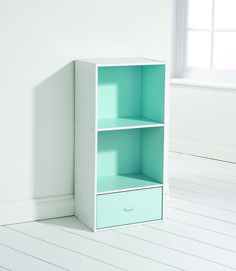 Chic Small Shelving Unit Idea with Two Cubes Shelves and One Drawer in White and Aqua Green Colors Combination