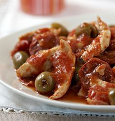 Fried chicken with chorizo, olives and tomatoes - Ôdélices cooking recipes - Recettes - Chicken Recipes Easy Healthy Recipes, Meat Recipes, Healthy Snacks, Chicken Recipes, Easy Meals, Cooking Recipes, Easy Cooking, Healthy Cooking, Healthy Eating