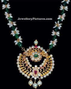 Oval shaped green emeralds and natural pearls beaded necklace with antique light weight gold pendant studded with polki diamonds, rubies, emeralds and pearls. Emerald Jewelry, Pearl Jewelry, Indian Jewelry, Beaded Jewelry, Beaded Necklace, Pearl Necklace, Simple Necklace, Diamond Jewelry, Necklaces