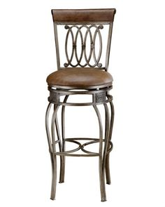 Hillsdale Montello Swivel Bar Stool, Old Steel Finish with Faux Brown Leather - Just exactly what I wanted.This Hillsdale Furniture that is ranked 32061 Home Bar Furniture, Smart Furniture, Furniture Logo, Metal Furniture, Furniture Stores, Kitchen Furniture, Furniture Ideas, Metal Chairs, Bar Chairs