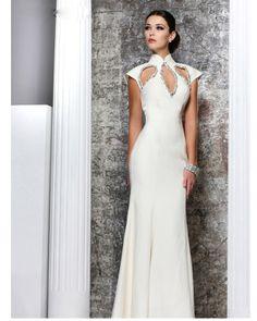osell wholesale dropship High Neck Short Sleeve Sheath Beading Satin Floor Length Evening Prom Dress $106.27