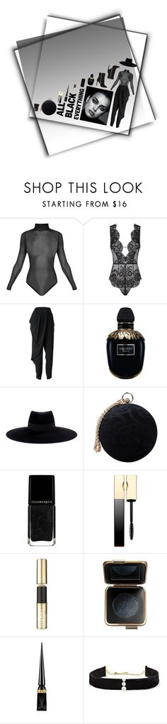 """all black."" by lu-mii ❤ liked on Polyvore featuring Agent Provocateur, Jean-Paul Gaultier, Alexander McQueen, Maison Michel, Carvela, Clarins, Smith & Cult, Victoria Beckham, Christian Louboutin and Anissa Kermiche"