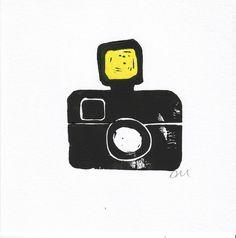 Lino print camera card