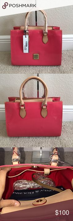"""Dooney & Bourke Janine Patent Leather Satchel Preown in excellent condition. Color bubble gum. Has a black spot on the back left. On the top has some wrinkles and a light scratch mark near closure . 5th pictures shows the imperfections of the light scratch mark Measures approximately 11-1/2""""W x 9""""H x 4-1/2""""D with a 21"""" to 24"""" strap drop and 5"""" handles; weighs approximately 2 lbs Body/trim 100% leather with patent coating; lining 100% cotton Dooney & Bourke Bags Satchels"""