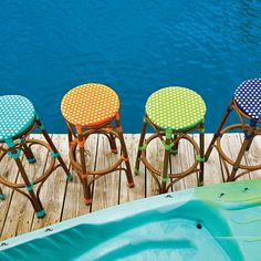Bold and bright resin wicker patio furniture is a great way to update your outdoor living space. You can mix and match these outdoor bar stools to add even more personality to your patio or deck.