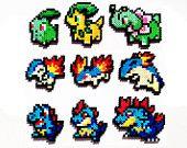 Pokemon Perler Generation 2 Starters - Choose 1 or a set of 3