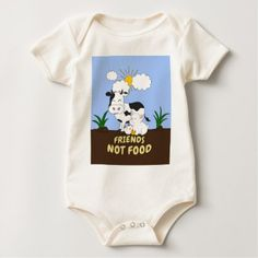 Friends Not Food - Cute Cow Pig and Chicken Baby Bodysuit - vegan personalize diy customize unique