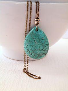 Blue Turquoise Teardrop Pendant Necklace by lululovestocreate, $25.00