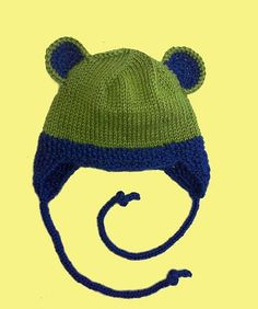 The hat can be made with or without the critter ears. Baby Hats Knitting, Crochet Baby Hats, Knitting For Kids, Knit Or Crochet, Baby Knitting Patterns, Loom Knitting, Free Knitting, Knitting Projects, Knitted Hats
