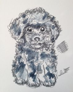 "Chicken Scratch ""Poodle"" 8x10 Watercolor Ink Print"