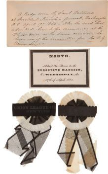 Super rare black-bordered White House pass for the April 19, 1865 Lincoln Funeral service, along with two silk & crepe mourning badges worn during the service.  *s*