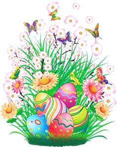 Transparent Easter Decor with Eggs and Grass PNG Clipart Picture