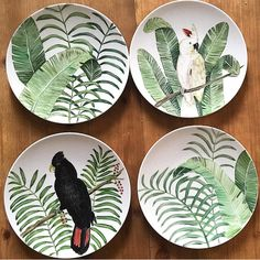 How To combine banana leaves and tropical birds and so it was! It Is tuesday and we are getting ready for our Classic celebration look at our Numbers and stay tuned ! by azarraluqui Pottery Painting, Ceramic Painting, Ceramic Clay, Ceramic Pottery, Service Assiette, Cerámica Ideas, Tropical Birds, China Painting, Ceramic Design