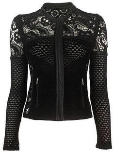 black *biker* jacket with crochet lace (Fashion Edgy Alternative) Dark Fashion, Gothic Fashion, Gothic Jackets, Black Biker Jacket, Gothic Outfits, Visual Kei, Mode Inspiration, Look Cool, Mens Clothing Styles