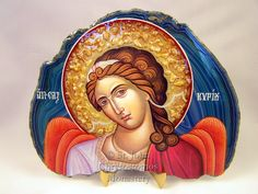 Handmade wooden, stone, and mineral icons from the Monastery of St. They have candles and other religious crafts available. Religious Symbols, Religious Art, Greek Icons, Small Icons, I Believe In Angels, Byzantine Art, Angels Among Us, Irish Wedding, Orthodox Icons