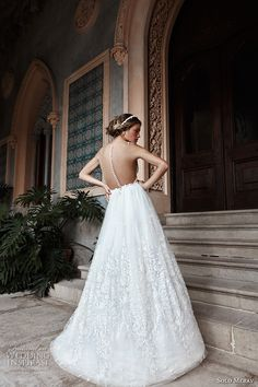 solo merav 2017 bridal sleeveless deep plunging v neck heavily embellished bodice romantic princess a  line wedding dress sheer back (lilianna) bv