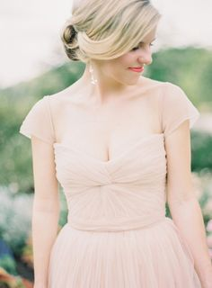coral lip | soft, sideswept updo | blush reem acra gown | Landon Jacob Photography